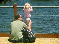 girl and dad hanging out on the pier