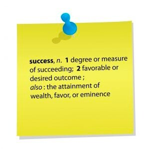 definition of success on a Post It