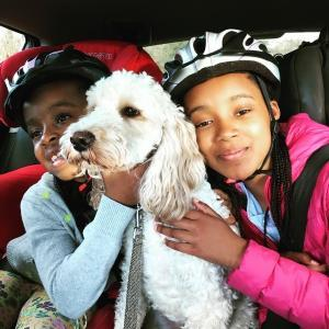 Nat Lue, kids and Chester the cockerpoo