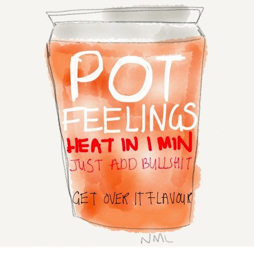 Pot Feelings. Heat in 1 minute. Get Over It Flavour. Like Instant feelings in a cup to go in the microwave