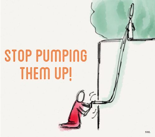 STOP PUMPING THEM UP! PERSON PUMPING AIR AROUND SOMEONE ON A PEDESTAL