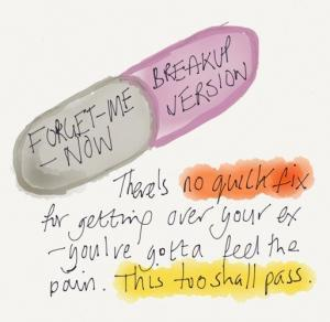 Forget-Me-Now pill - the Breakup Version. Inspired by Gob Bluth from Arrested Development