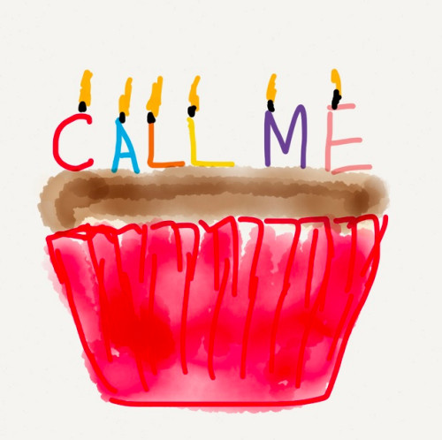 cake with 'call me' birthday candles
