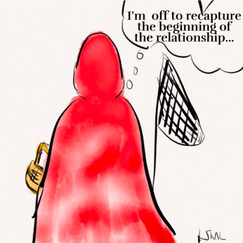 Red Riding Hood with a net off to capture the beginning of the relationship