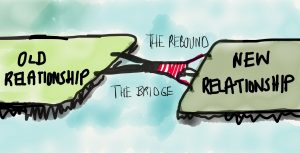Illustration of somebody being the bridge between the old relationship and the new one: