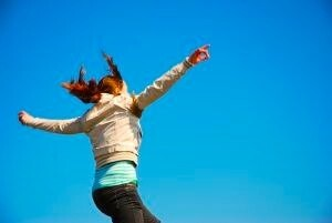 woman jumping in freedom