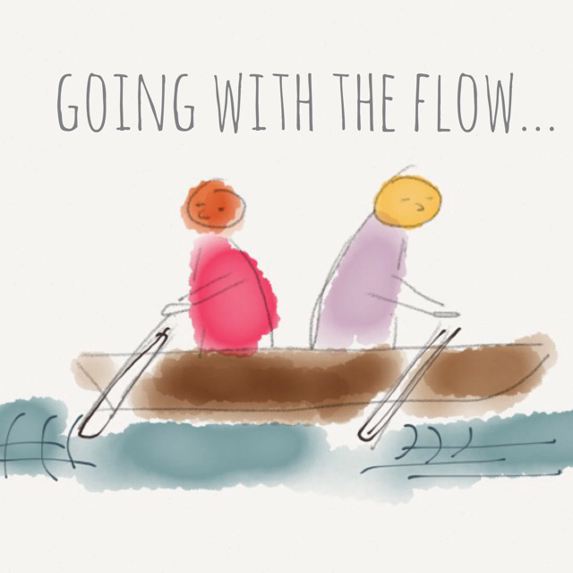 About Going With The Flow by Nat Lue Baggage Reclaim - two people rowing in the opposite directionAbout Going With The Flow by Nat Lue Baggage Reclaim