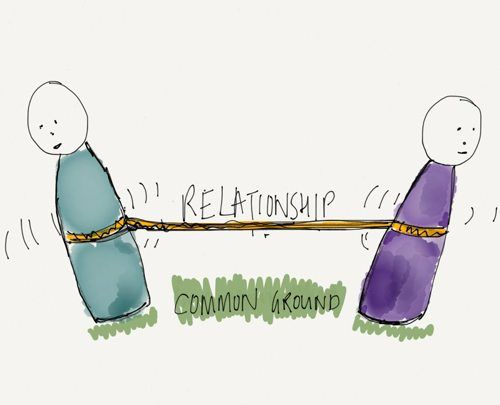 two people having a tug of war over a relationship
