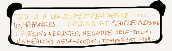 This is a low self-esteem service to unhappiness - announcement board