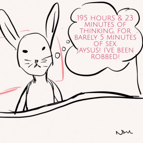 Bunny in bed wondering why she spent 195 minutes and 23 minutes worrying when she only got 5 minutes of sex
