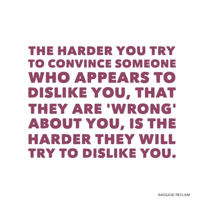 The harder you try to convince someone who appears to dislike you, that they are 'wrong', is the harder they will try to dislike you