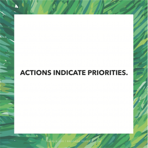 ACTIONS INDICATE PRIORITIES