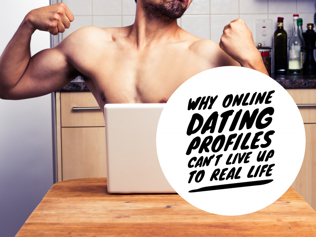 man flexing his muscles for webcam for online dating by Lolostock : Why online dating profiles can't live up to real life