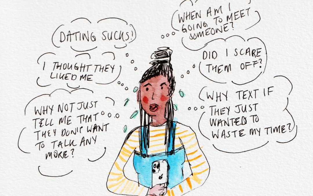 "Illustration about texting anxiety. Black woman wondering why they haven't text back by Natalie Lue. ""Did I scare them off?... ""I thought they liked me"""