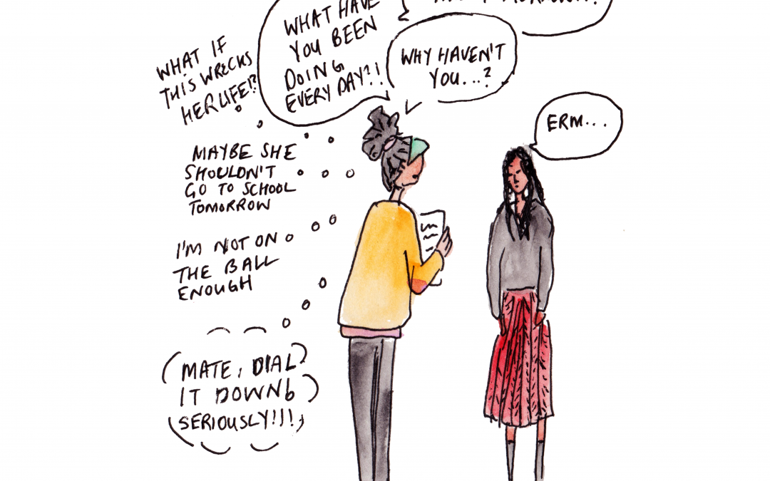 Illustration by Natalie Lue. Freaking out over decisions and exams. Illustration of her firing questions at her daughter.