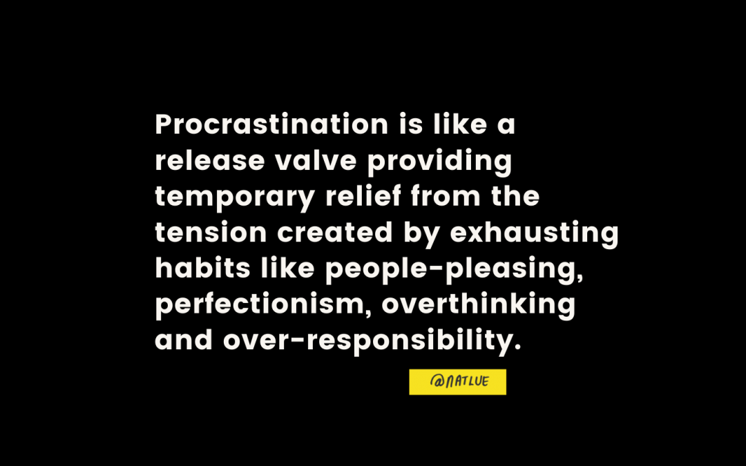 """""""Procrastination is like a release valve providing temporary relief from the tension created by exhausting habits like people-pleasing, perfectionism, overthinking and over-responsibility."""" @natlue Natalie Lue Baggage Reclaim"""